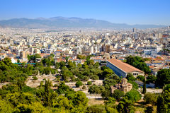 Scenic citiscape of Athens with ancient temples Stock Photos