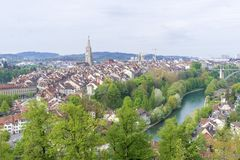 Scenic of The city of Bern, the capital of Switzerland.The Aare river flows in a wide loop around the Old City of Bern. Scenic of The city of Bern, the capital Stock Image