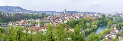 Scenic of The city of Bern, the capital of Switzerland.The Aare river flows in a wide loop around the Old City of Bern. Scenic of The city of Bern, the capital Royalty Free Stock Image