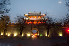 Scenic of city gate and city wall in ancient city of Dali. Stock Photos