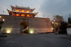 Scenic of city gate and city wall in ancient city of Dali. Royalty Free Stock Image