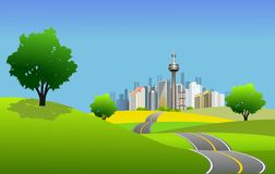 Scenic city scape and high way Royalty Free Stock Image