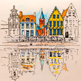 Scenic city view of Bruges canal with beautiful houses Royalty Free Stock Images