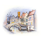 Scenic city view of Bruges canal with beautiful houses Stock Photos