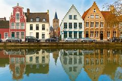 Scenic city view of Bruges canal  Stock Image