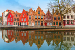 Scenic city view of Bruges canal  Stock Images