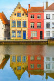 Scenic city view of Bruges canal with beautiful Royalty Free Stock Images