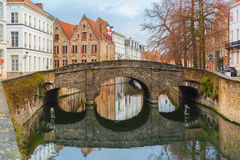 Scenic city view of Bruges canal and bridge Royalty Free Stock Image