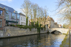Scenic city view of Bruges canal and bridge Royalty Free Stock Photography