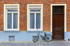 Scenic city view of Bruges street with bike Stock Photography