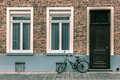 Scenic city view of Bruges street with bike Royalty Free Stock Photography