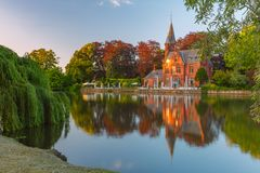 Fairytale night landscape at Lake Minnewater in Bruges, Belgium royalty free stock photo