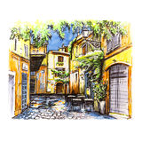 Scenic city view of Rome, Italy. Scenic city view of typical narrow alley in Trastevere, Rome, Italy. Picture made markers stock illustration