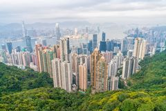 Scenic Cityscape of Hong Kong stock images