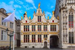 Burg Square in Bruges stock photo