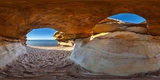 Suurupi Secret Location Beach. Coastal cave in Estonia. 360 degrees panorama