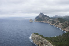 Scenic, cliffs in Formentor, region north of the island of Mallo Stock Photos