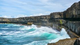 Scenic cliffs of Inishmore, Aran Islands, Ireland. Inishmore, Aran Islands, Galway Bay, Ireland Stock Photography