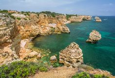 Scenic cliffs near praia da Marinha, Carvoeiro, Algarve royalty free stock images