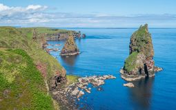 The scenic cliffs and stacks of Duncansby Head, Caithness, Scotland. royalty free stock photography