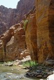 Scenic cliffs of Wadi Mujib creek in Jordan Royalty Free Stock Images