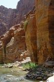 Scenic cliffs of Wadi Mujib creek in Jordan. Majestic scenic cliffs of Wadi Mujib creek in Jordan Royalty Free Stock Images
