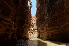 Scenic cliffs of Wadi Mujib creek in Jordan. Scenic steep cliffs of Wadi Mujib creek in Jordan Stock Photography