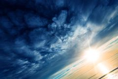 Scenic Cloudscape at Sunset. Ocean Sunset Scenery royalty free stock photos