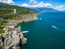 The scenic coast of Crimea with castle on the rock, Crimea Stock Photos
