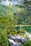 Scenic coast of Vorderer Gosausee lake, Austria Stock Image