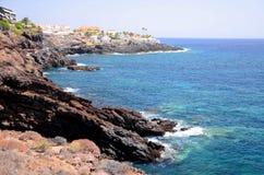 Scenic coastal landscape of turquoise atlantic ocean in Puerto de Santiago on Tenerife Royalty Free Stock Images