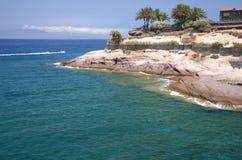 Scenic coastal landscape of volcanic rocks in Costa Adeje on Tenerife. Spain stock photography