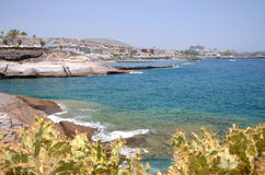 Scenic coastal landscape of volcanic rocks in Costa Adeje on Tenerife Stock Images