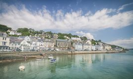 Welsh Coastal Town at Bright Suny Day stock images
