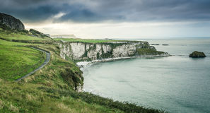 Scenic coastal view with pathway. Northern Ireland royalty free stock images