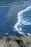 Scenic Coastline from High Overlook. A beautiful scenic coastal overlook at the mouth of the Klamath River as it empties into the Pacific Ocean at the Redwood Stock Photos