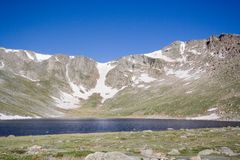 Scenic Colorado. The Rocky Mountains form a bowl surrounding a lake on Mt. Evans, Colorado. Mt. Evans is 1 of the 55 mountains in Colorado that stands at over 14 Royalty Free Stock Photos