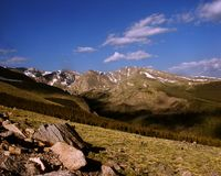 Scenic Colorado landscape. Colorado scenery with mountains, meadows and blue sky Royalty Free Stock Photography