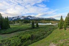 Beautiful Colorado Mountain Lake at Sunrise royalty free stock photos