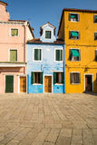 Scenic colorful house on Burano island, Venice Stock Photos