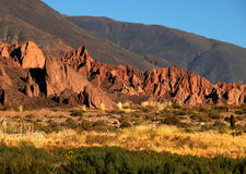 Scenic colorful mountainscape in Argentina. Sunshine on mountain scenery in Salta, northwestern region of Argentina Royalty Free Stock Image