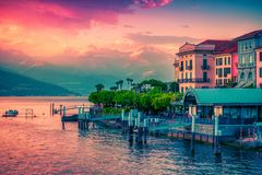Scenic Como lake and Bellagio at sunset, Italy. Scenic Como lake and Bellagio at sunset, Lombardy, Italy stock image