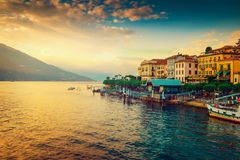 Scenic Como lake and Bellagio town. At sunset, Italy. Landscape Stock Photography