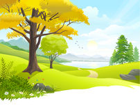 Scenic countryside lake view royalty free illustration