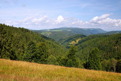 Scenic countryside landscape in the Black Forest: green summer mountain valley with forests, fields and old houses in Royalty Free Stock Images