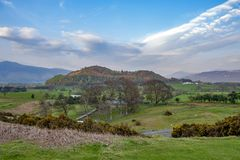 Scenic countryside landscape at a sheep farm in Lake District of Englan stock photos