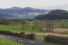 Scenic countryside landscape at a sheep farm in Lake District of Englan royalty free stock photos