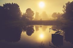 Scenic countryside sunrise landscape in Lithuania stock photo