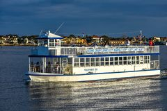Scenic Cruise Tour on colorful background in Florida`s Historic Coast stock images