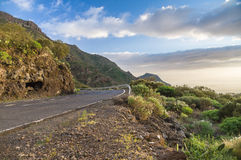 Scenic curvy road with fence on sunset, Tenerife Royalty Free Stock Image